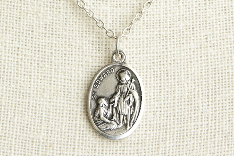 Saint Edward Medal Necklace. St Edward Necklace. Catholic image 0