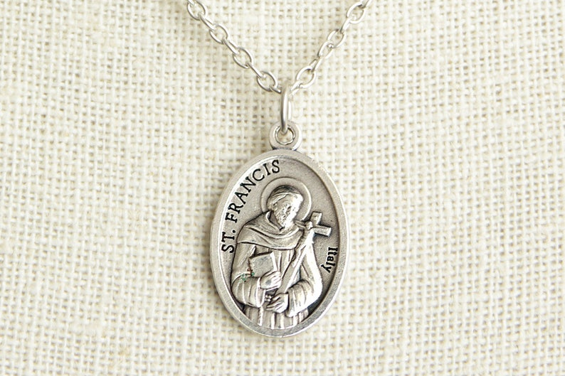 Saint Francis Medal Necklace. St Francis Necklace. Catholic image 0