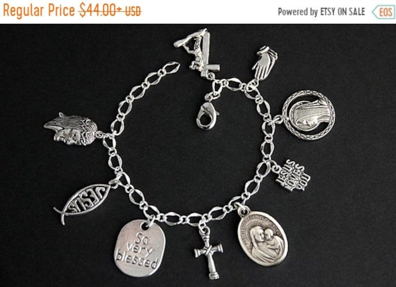 HALLOWEEN SALE Our Lady of Good Counsel Charm Bracelet. OL image 0
