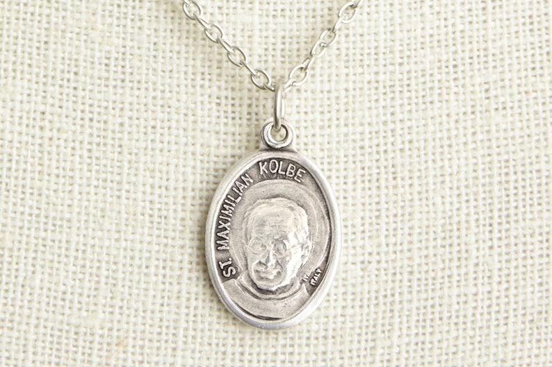 St Maximilian Kolbe Medal Necklace. Padre Kolbe Necklace. image 0