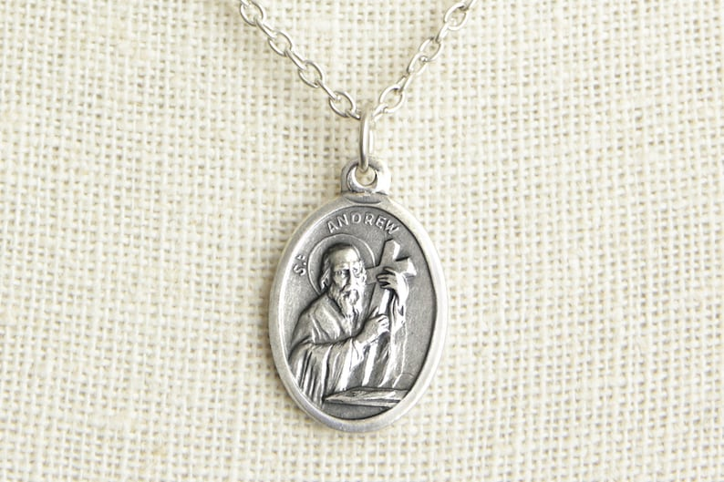 Saint Andrew Medal Necklace. St Andrew Necklace. Catholic image 0