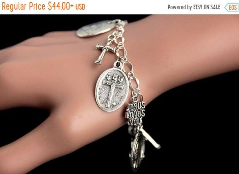 HALLOWEEN SALE Crucifixion Charm Bracelet. Crucifixion image 0