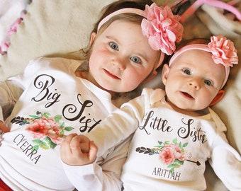 Big Sister Little Sister Set, Big Sister Shirt, Little Sister Shirt, Personalized Set, Custom Shirts, Newborn Gift, Photo Prop