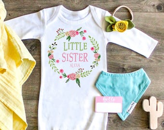 Newborn Gown, Little Sister Gown, Baby Sister Outfit, Take Home Outfit, Custom Gift, Boho Little Sister Outfit, Newborn Outfit, Baby Sister