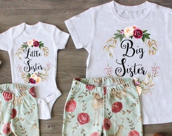 d2317e68d Big Sister Little Sister Outfit, Big Sister Shirt, Little Sister Shirt,  Pregnancy Announcement, Custom Outfit, Newborn Gift, Photo Prop