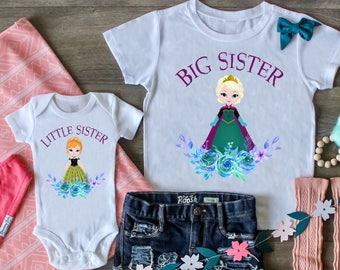 eca5e71e6 Big Sister Little Sister Outfit, Frozen Outfit, Princess Anna, Princess  Elsa Set, Big Sister Shirt, Little Sister Bodysuit, Custom Outfit