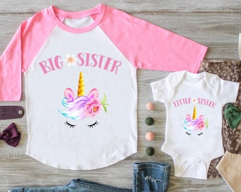 Unicorn Big Sister Little Sister Outfit, Unicorn Big Sister Graphic Raglan Unicorn Little Sister Personalized Matching Set