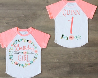 Birthday Girl Shirt First One Outfit Raglan 1st Custom