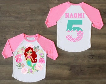 Princess Ariel Five Birthday Shirt 5th Outfit Girl Little Mermaid Personalized
