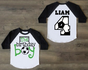 Soccer Birthday Boy Shirt Four Fourth Outfit 4 Raglan 4th