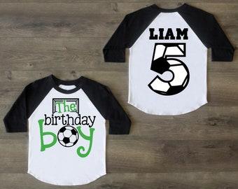 Soccer Birthday Boy Shirt Five Fifth Outfit 5 Raglan 5th