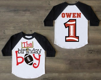 Football Birthday Boy Shirt First One Outfit Raglan 1st