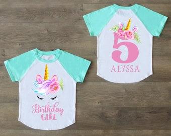 e54c745a9 Unicorn Birthday, Five Birthday Shirt, 5th Birthday Outfit, Birthday Girl,  Unicorn Raglan