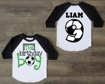 Soccer Birthday Boy Shirt Nine Ninth Outfit 9 Raglan 9th