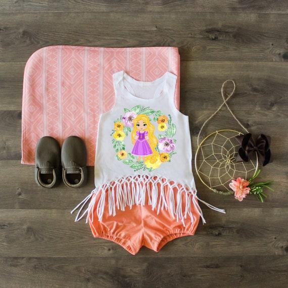 Birthday Outfit Rapunzel Tank Birthday Girl Rapunzel Shirt Rapunzel Outfit Rapunzel Macrame Fringe Tank Custom Shirt Rapunzel Top