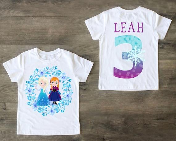 Frozen necklace Anna and Elsa birthday shirt Frozen inspired 3rd birthday shirt personalized girl third birthday Frozen party