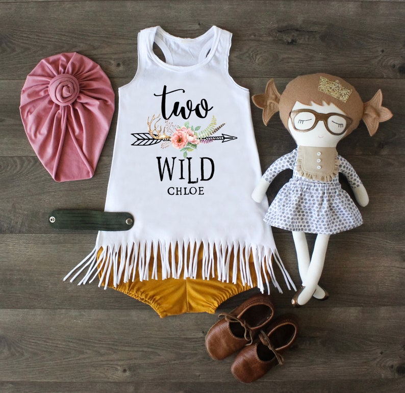 Personalized Dress 2nd Birthday Dress Second Birthday Girl Two Wild Dress Two Birthday Dress Fringe Tank Dress Two Wild Outfit