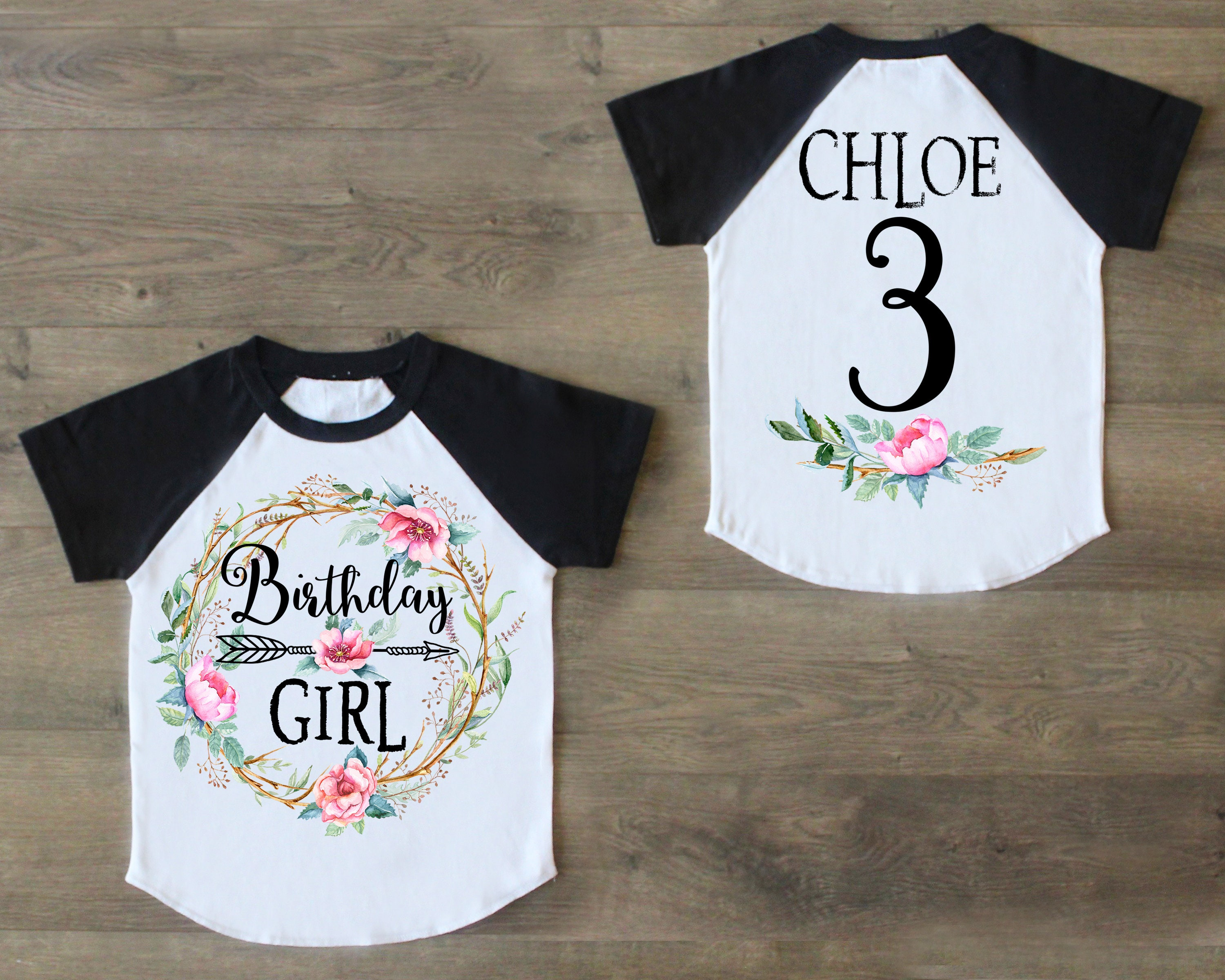 Three Birthday Shirt Third Outfit Girl Raglan