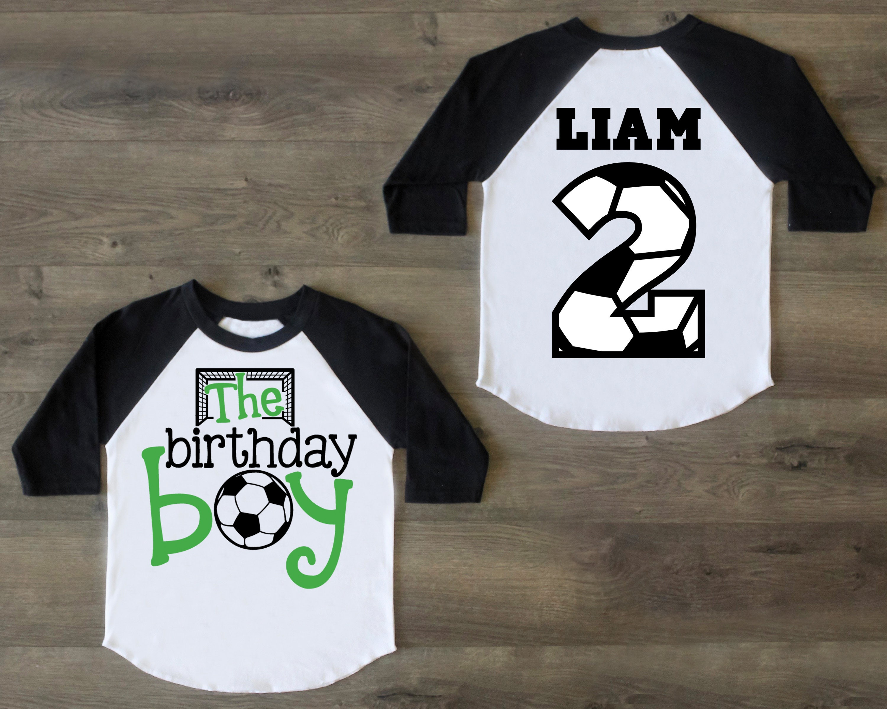 Soccer Birthday Boy Shirt Second Two Outfit Raglan 2nd First
