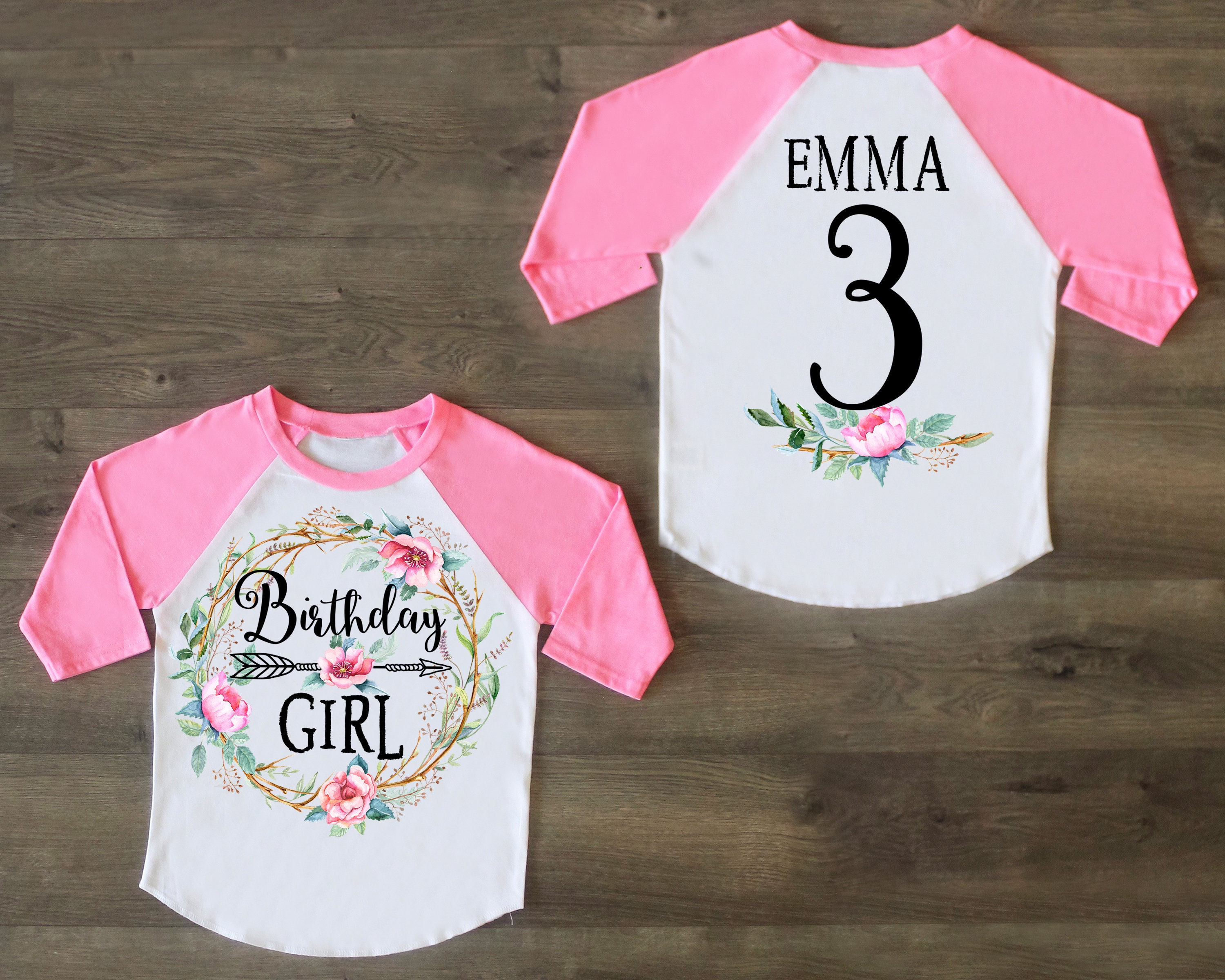 Three Birthday Shirt Third Outfit Girl Raglan Personalized 3rd Custom