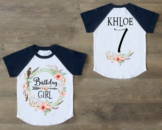 Seven Birthday Shirt 7th Outfit Girl Raglan Personalized Seventh 7