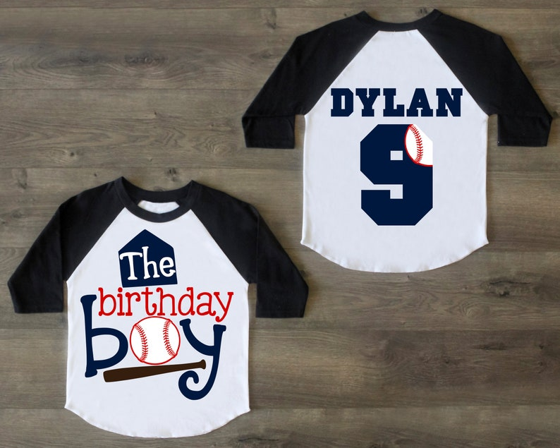 Baseball Sport Birthday Shirt Youth Birthday Boys Raglan The Birthday Boy Front Nine Birthday Shirt Baseball Raglan Named Back Raglan