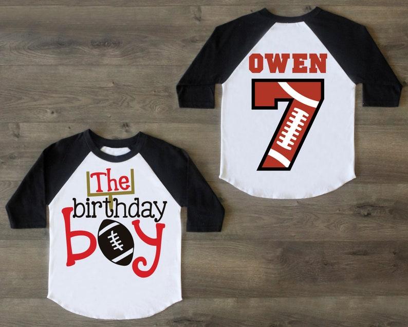 7th Birthday Shirt 7 Birthday Raglan Seventh Birthday Outfit Seven Birthday Boy Football Birthday Boy Shirt Seven Birthday Shirt