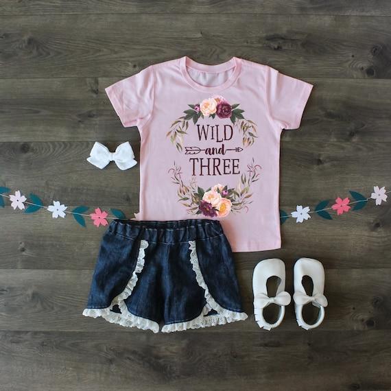 3rd Birthday Outfit Third Birthday Shirt Wild and Three Birthday Shirt Wild and Three Top Birthday Girl Outfit Custom Shirt