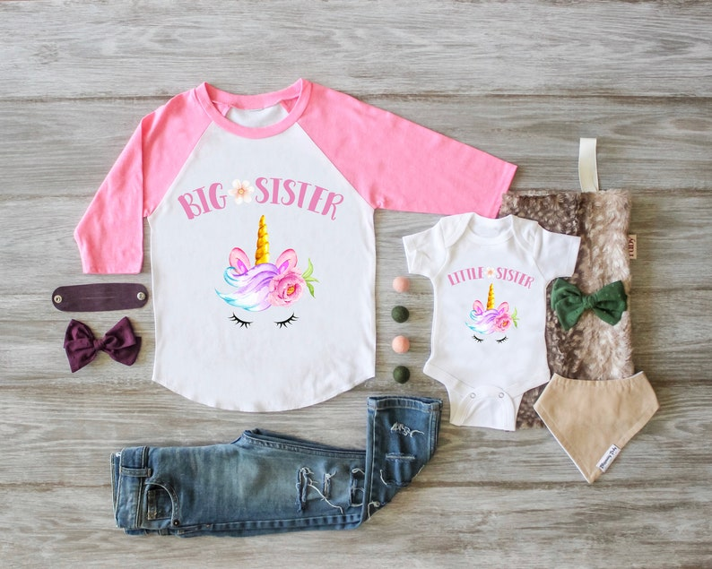 Unicorn Big Sister Little Sister Outfit Unicorn Big Sister image 0