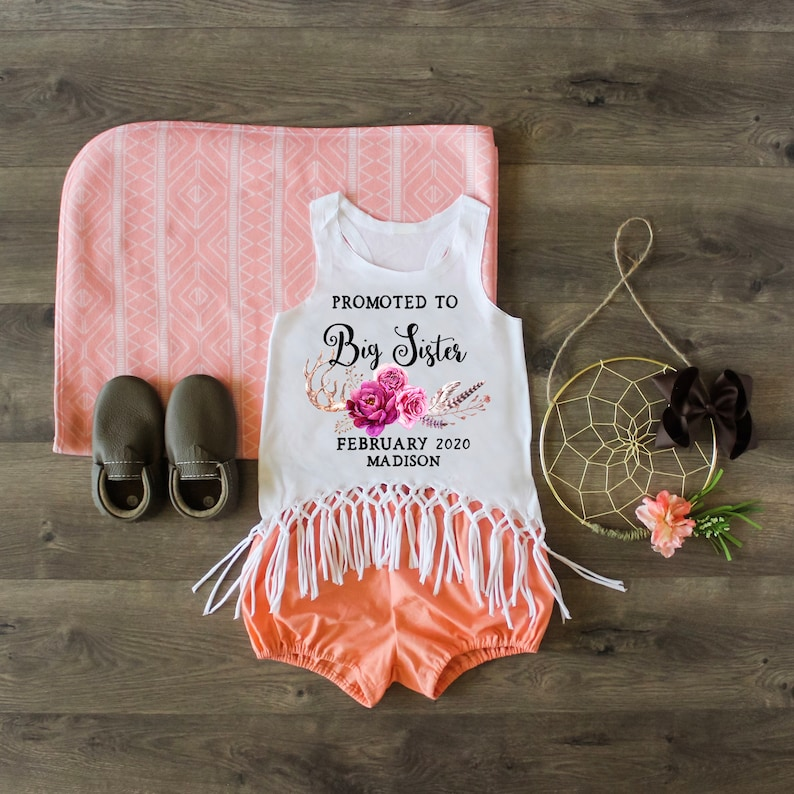 Girls Clothing Little Sister Top Custom Shirt Promoted To Big Sister Tank Macrame Fringe Tank Big Sister Shirt Pregnancy Announcement