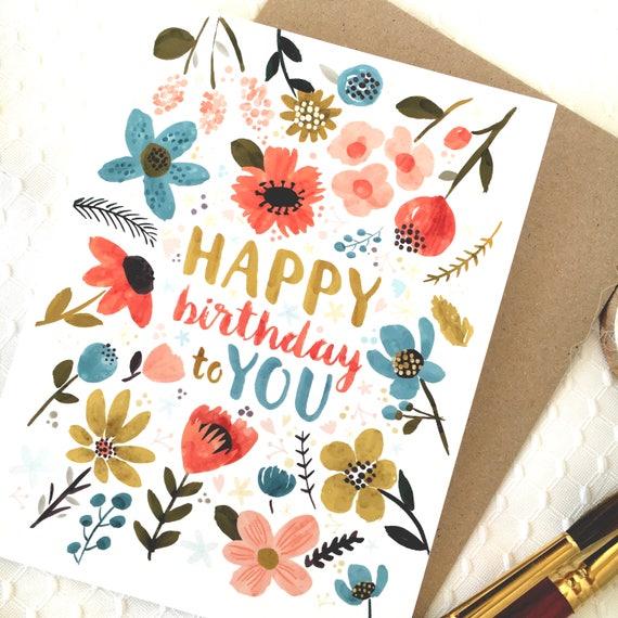 Pretty Birthday Card Happy Birthday Card Watercolor Flower Etsy