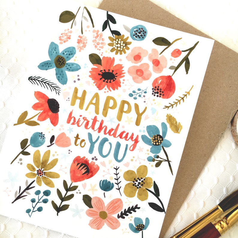 Pretty Birthday Card Happy Watercolor Flower Florals Hand Painted