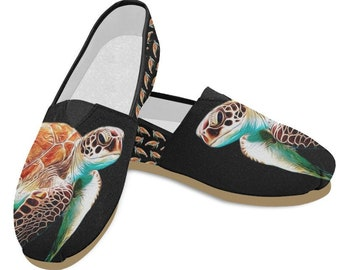 09a30facbfef36 Women s Casual Shoes (Turtle Design). Black or White Shoes. Turtle Gifts.