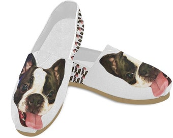 PDAQS Women Boston Terrier And Bone Casual Loafers Tenis Shoes Low Top
