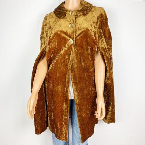 vintage brown crushed velvet CAPE poncho