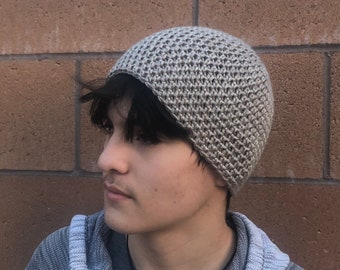 d2928b1e4 Crochet Skull Cap Mens/Young Adult Beanie Hat, Taupe