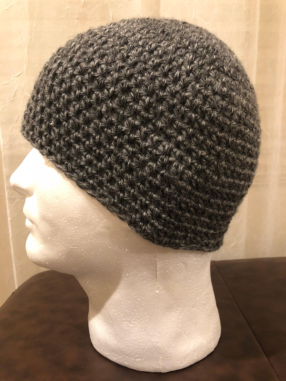 633de4b6360 Crochet Skull Cap Beanie Hat Mens and young adult Dark Grey