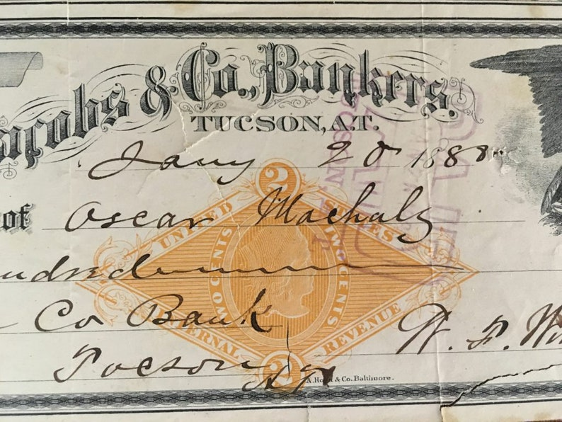 Jacobs /& Co Bankers Check L.M First Bank of Tucson