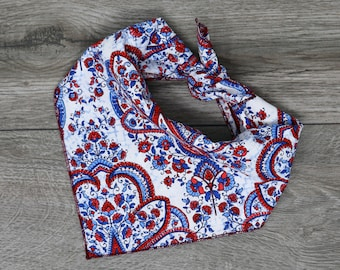 XSmallSmallMediumLargeXLarge Tie-on Dog Bandana in Blue Brown Paisley and Dog Biscuit