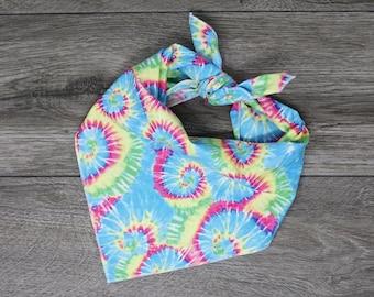 Tie Dye Dog Bandana - Tie On Dog Bandana - Summer Dog Bandana