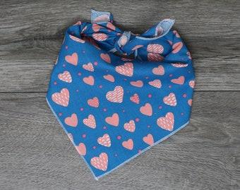 "Valentine's Dog Bandana - Blue and Pink Dog Bandana  - Tie On Bandana - ""Blue Valentine"""
