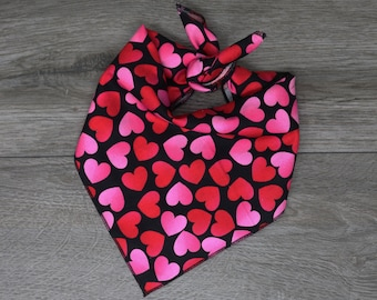 "Valentine's Dog Bandana - Black Heart Dog Bandana  - Tie On Bandana - ""Valentine's"""