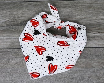 "Valentine's Dog Bandana - Heart Dog Bandana  - Tie On Bandana - ""Love"""