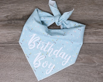 """Happy Birthday Dog Bandana - Birthday Girl Boy Dog Bandana - Tie On Bandana - """"Blue Birthday"""""""
