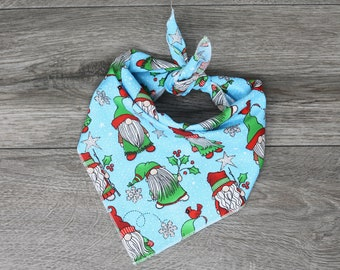 "Christmas Holiday Dog Bandana - Tie On Bandana - ""Gnomes"""