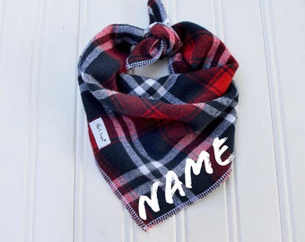 Dog Bandana - Personalized Dog Bandana - Tie On Bandana - Blue Red Plaid