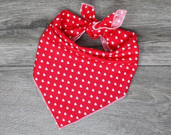"Valentine's Dog Bandana - Red Heart Dog Bandana  - Tie On Bandana - ""Valentine's"""