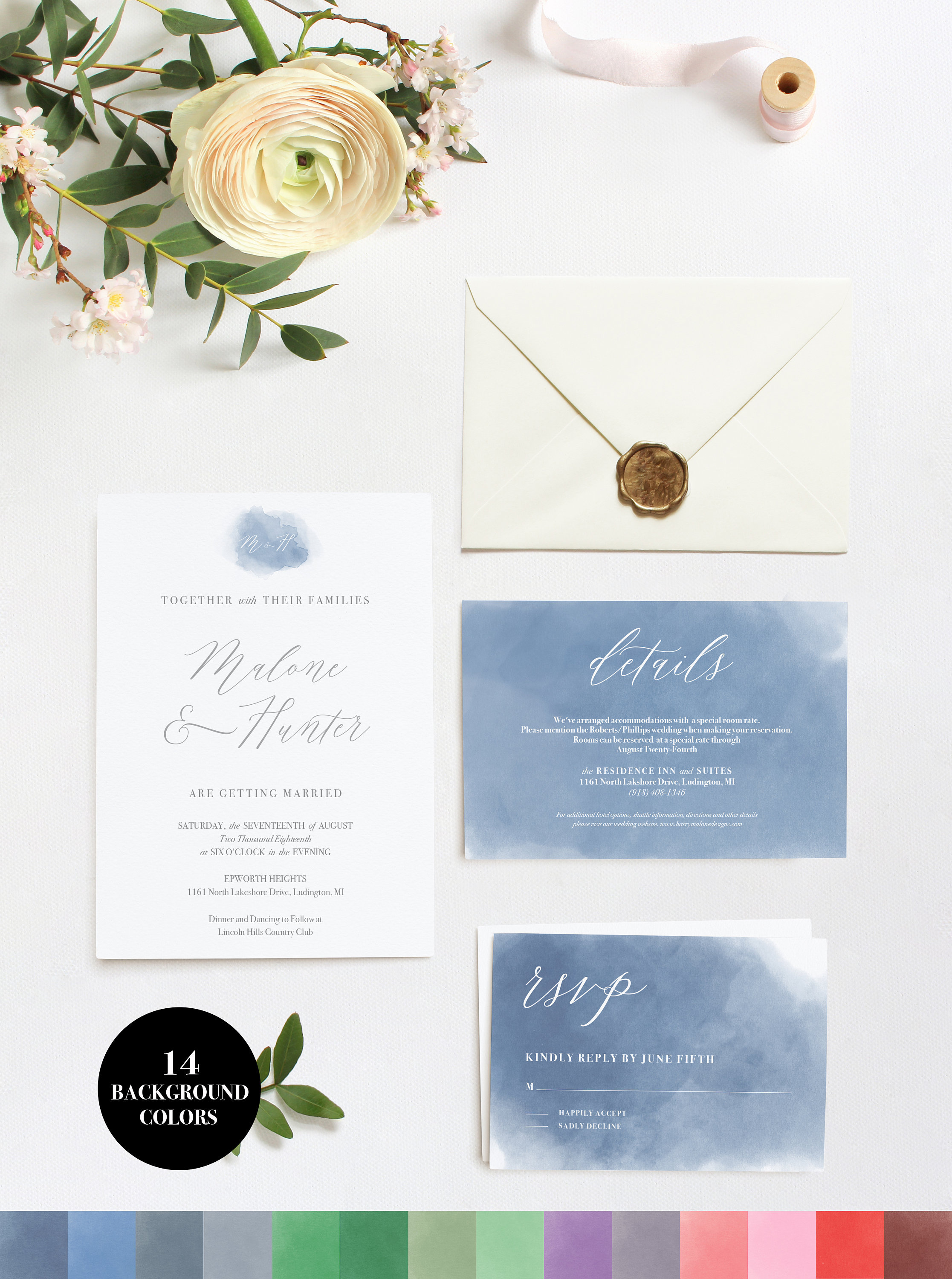 WC001 Watercolor Wedding Invitation Suite