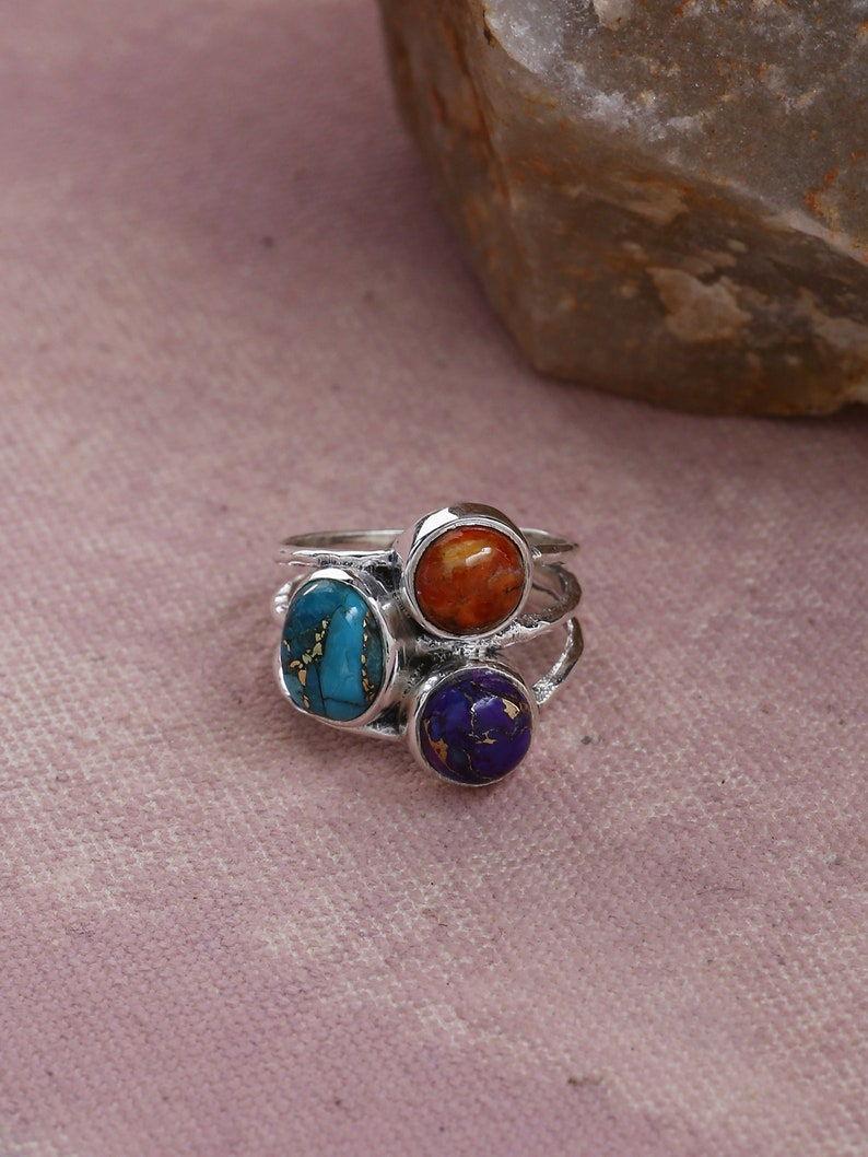 Blue Copper Turquoise Mohave Turquoise Gemstone Solid 925 Sterling Silver Designer Handmade Ring December Birthstone
