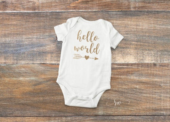 8f823bf96 Newborn Outfit Hello World Bodysuit Baby Girl Shirt Coming | Etsy